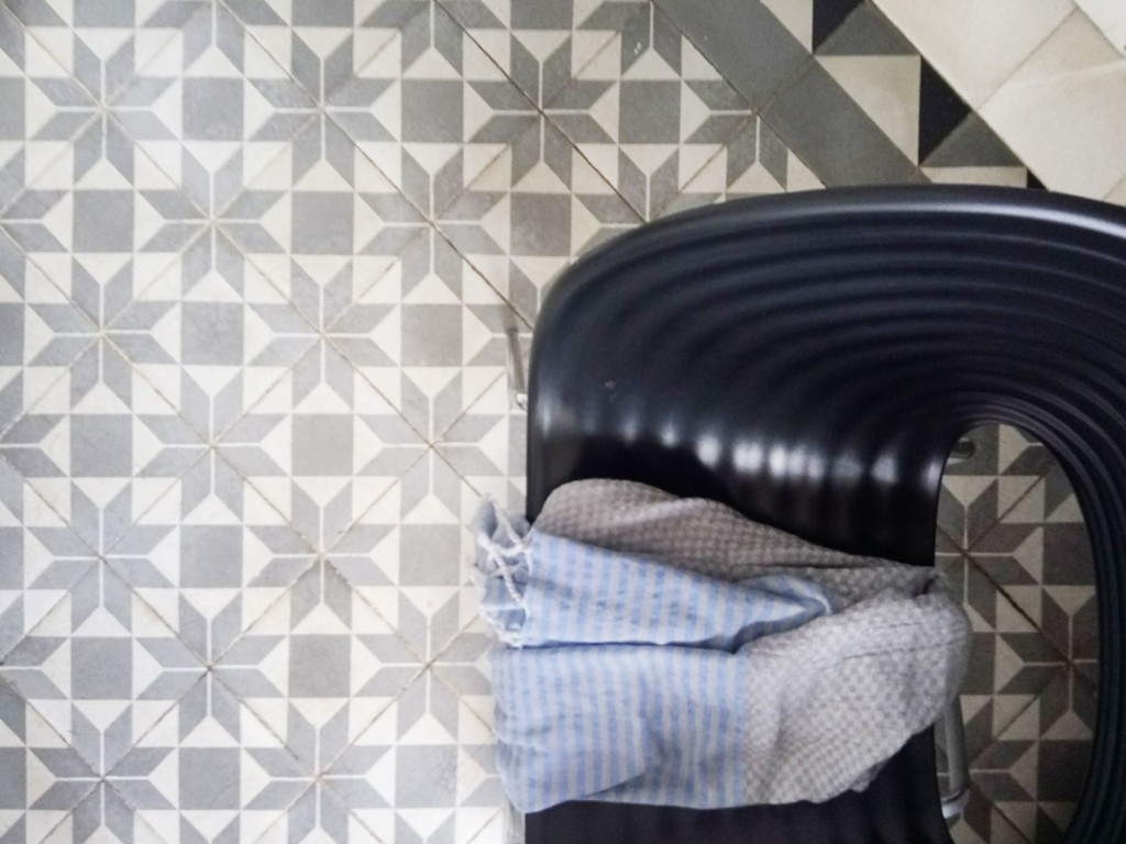 cement tile design in grey and white
